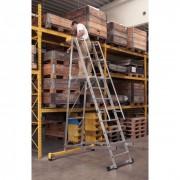 ZARGES Hliníkový skládací plošinový žebřík, 12 příček, výška plošiny 3,1 m