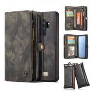 CASEME 2-in-1 Multi-slot Wallet Vintage Split Leather Case for Samsung Galaxy S9+ SM-G965 - Grey