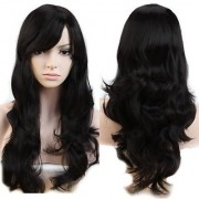 Sellers Destination Women Lady Hair Wigs Long Curly Straight Wavy Synthetic Full Wig Cosplay Costume Dark Black-Wavy 19inch