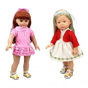2 Sets Sweet Baby Doll Clothes Mini Pink Cake Layer Doll Clothing Dress with Polka Dots for 14 - 16 Inches American Girl Dolls by XADP