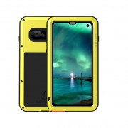 LOVE MEI Powerful Metal Defender Case for Samsung Galaxy S10 Dust-proof Shock-proof Splash-proof Cover - Yellow