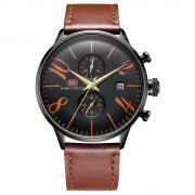 MINI FOCUS Men's Watch Business Style Fashionable Watch Quartz Wrist Watch with Calendar Display and Waterproof Genuine Leather Strap - Brown/Black