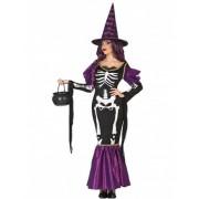 Vegaoo Hexenkostüm violett Skelett für Damen