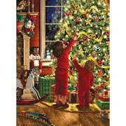 Bits And Pieces 1000 Piece Glitter Puzzle Children Decorating The Christmas Tree By Artist Liz Goodrick Dillon Family Holiday Fun 1000 Pc Jigsaw