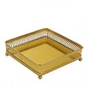 Porta Bijuteria Quadrada com Espelho Dourada