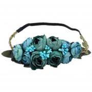 Camellia Buds Guirnalda Mujer Flores Para La Cabeza - Azul
