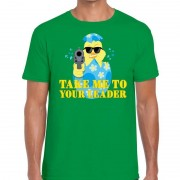 Bellatio Decorations Fout paas t-shirt groen take me to your leader voor heren