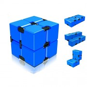 Infinity Cube Fidget Toy, Light Luxury EDC Fidgeting Infiniti Cube Game for Kids and Adults, Mini Classic Cube Spinner Best for Anti Stress and Anxiety Relief-Blue