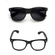 Natural Creation Wayfarer Sunglasses(Black, Clear)
