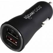 Incarcator Auto Boompods 3.4A Dual USB led indicator incarcare rapida Negru