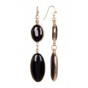 Spring Street Oval Double Drop Earrings BLACK