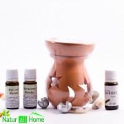PACHET Candelă de aromaterapie și 3 sticluțe de ulei de parfum FLORAL BEAUTY , PRO AGE, NIGHT FLOWER