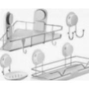 Set accesorii baie cu ventuza HeavyLock 4 piese etajera + etajera de colt + suport sapun + carlig dublu
