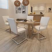vidaXL Jedálenské stoličky, perová kostra 4 ks, biele, umelá koža