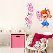 Wall Stickers Girls Room Sticker Cute Baby With Cosmos Flowers Pink Kids Room Design