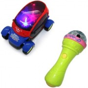 combo of 3d LED Light Car 3D Lights Handheld Mike Musical Toy (Multicolor)