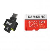 Leef Access-C microSD Card Reader + Samsung MicroSD 128GB EVO Plus UHS-I (U3) Memory Card - четец за microSD карти + MicroSD 128GB устройства с USB-C