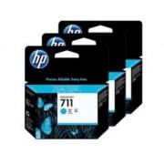 Cartucho HP Plotter 711 - Ciano 29ML - Pacote com 3 - CZ134AB