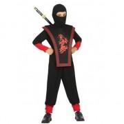 Geen Ninja verkleed kostuum zwart/rood voor jongens