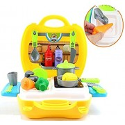 Vivir Bring Along Suitcase Pretend Play Role Playing Cooking Kitchen Set (3 Year Old Boy and Girl)