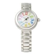 【76%OFF】ラウンドウォッチ ウィメンズ ケース:パールホワイト ベルト:シルバー ファッション > 腕時計~~レディース 腕時計