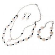 Set bijuterii GANELLI- colier bratara cercei din pietre semipretioase Sidef Perle naturale cultura