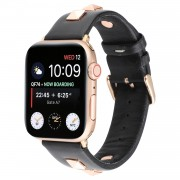 Genuine Leather Watch Strap Smart Watch Band Watchband with Rose Gold Fastener for Apple Watch Series 1 2 3 42mm / Apple Watch Series 5 4 44mm -Black