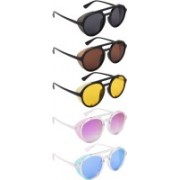 NuVew Round, Shield Sunglasses(Black, Brown, Yellow, Violet, Blue)