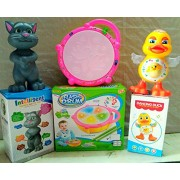 PLAY DESIGN Touching Tom & Dancing Duck & Flash Drum (Multi color) COMBO PACK