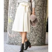 【トールサイズ】サキソニーウエストリボンスカート