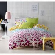 Lenjerie de pat Dormisete bumbac 100 Loving Matisse Rose pentru pat 2 persoane 4 piese 180x215 / 50x70 cearceaf pat uni Verde Lime