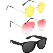 Elligator Round, Aviator, Wayfarer Sunglasses(Yellow, Pink, Black)