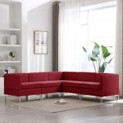 vidaXL Ensemble de canapés 5 pcs Tissu Rouge bordeaux