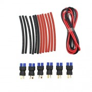 Raogoodcx 6Pcs Wires Connector - EC3 Female to Male T-Plug Adapter (Deans Style) Heat and Shrink Tubing Tube Kits+2X 1M 14 Gauge AWG Silicone Rubber Wire Cable Red Black Flexible
