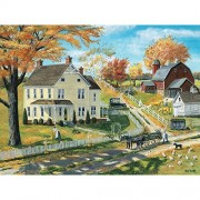 Bits and Pieces - 300 Large Piece Jigsaw Puzzle for Adults - Milk Pickup - 300 pc Autumn in a Country Town Jigsaw by Artist Bob Fair - Oversized Puzzle Pieces