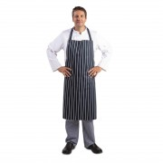 Whites Chefs Clothing Whites Butchers Apron Navy Stripe Extra Large Size: XL