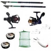 Set pescuit sportiv cu 2 lansete eastshark 3 6m 2 mulinete YF6000 si FG10 2 gute monturi si racheta de nadit