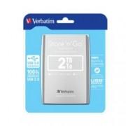 """Твърд диск 2TB Verbatim (сребрист), външен, 2.5"""", USB 3.0"""