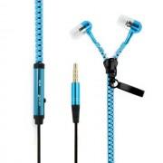 Maxy Zipper Auricolare Stereo Super Bass Headphones In-Ear Jack 3,5mm Universale Blu Per Modelli A Marchio Asus