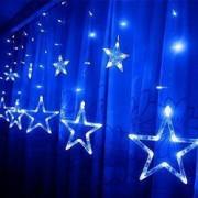Instalatie craciun perdea luminoasa ploaie de stele albastru