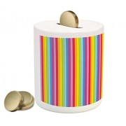 Colorful Coin Box Bank by Lunarable, Modern Vertical Rainbow Colored Stripes Vibrant Shades of Colors Funky Cheerful, Printed Ceramic Coin Bank Money Box for Cash Saving, Multicolor