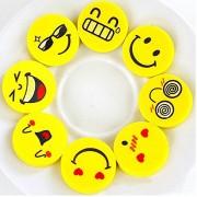 AST Works Funny 4 Pcs Rubber School Supplies Smiley Face Pencils Eraser Creative Kawaii