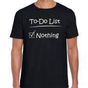 Bellatio Decorations To to list nothing fun tekst t-shirt voor heren zwart