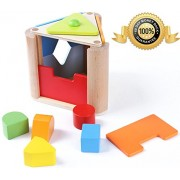 BabeRock Plug-in Box Shake and Match Toddler Wooden Shape Sorter Toy