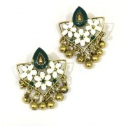 Digital Dress Women's Fashion Jewellery Earring Indian Traditional Light Weight Handmade Floral Green White Enamel Work Design Gold-Plated Studded Drop Earrings Oxidized for Women Girls