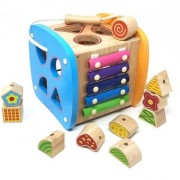 Emob Wooden Multifunctional Shapes Sorter Early Development Activity Toys for Toddlers (Multicolor)