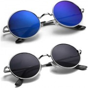Pack of 2 Round latest style Sunglasses(Blue/Black)