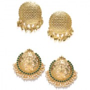 Zaveri Pearls Combo Of 2 Traditional Pearl Golden Carving Work Design Stud Earring -ZPFK9042