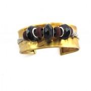 The jewelbox designer free size black brown cuff gold plated kada cuff bracelet