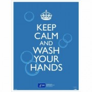 National Marker Pandemic Signage, Sign Message KEEP CALM AND WASH YOUR HANDS., Product Type Poster, Length 24, Model PST156